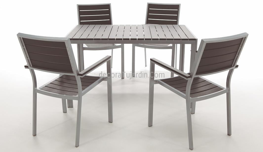 Mesa de comedor de jard n 150x90 aluminio y sobre de resina for Comedor para jardin