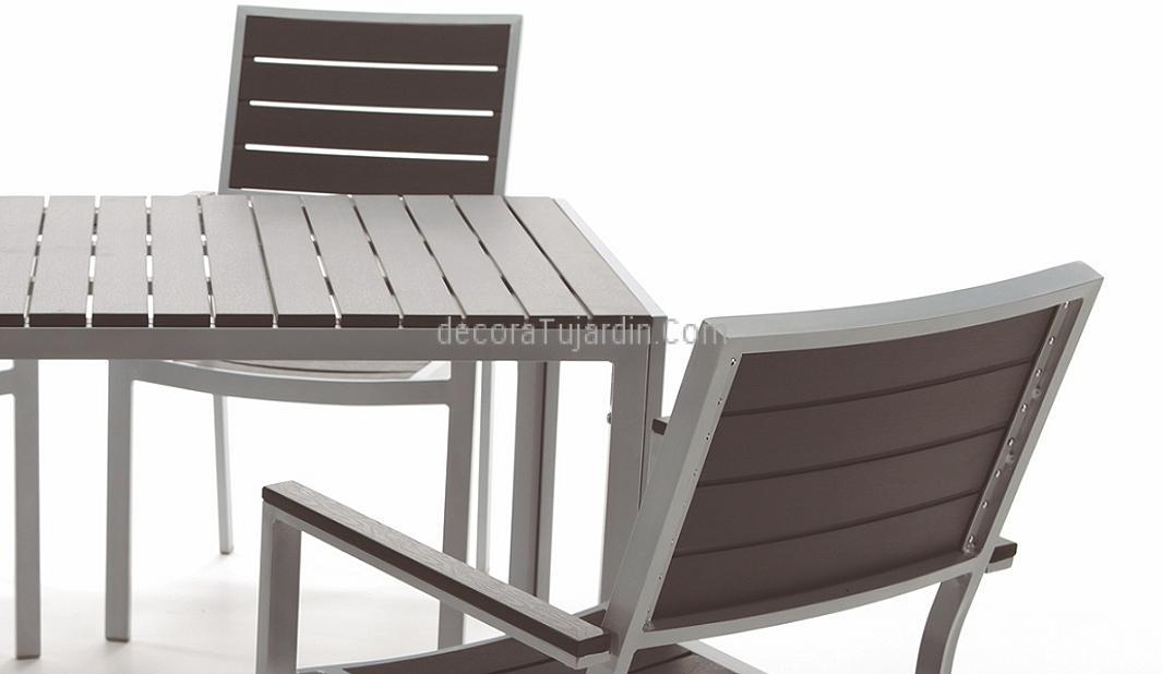 Mesa de jardin y exterior aluminio tablero de resina exterior - Mesas para exterior ...