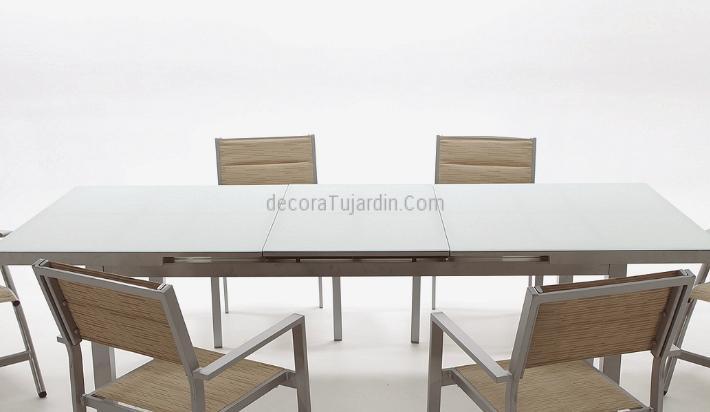 Mesa ampliable aluminio 180 a 240 x 100cm exterior for Mesa comedor ampliable