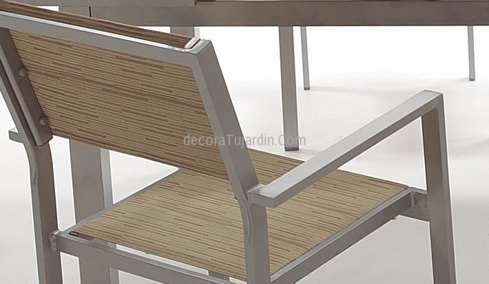 Silla de jardín de aluminio gris plata textilene beige
