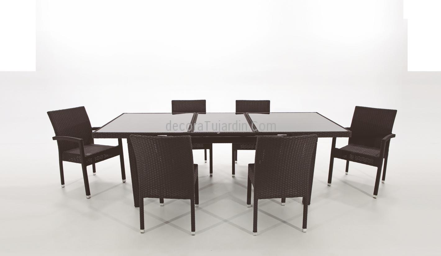 Jard n mesa de exterior ampliable ratt n negro for Mesa comedor ampliable