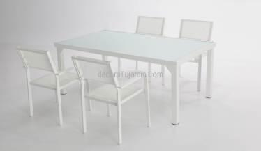 mesa jardín aluminio blanco