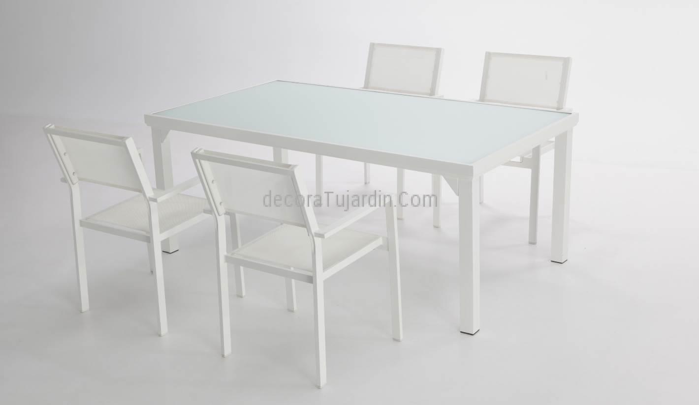 Mesa de exterior 160 x 90 for Sofa exterior aluminio blanco