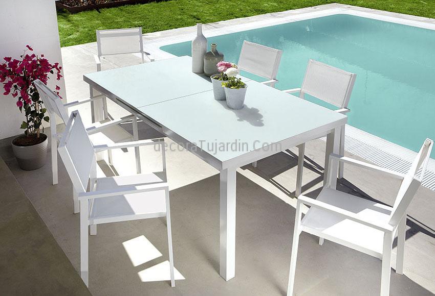 Set de jard n sillas y mesas blanco for Mesas y sillas de jardin alcampo