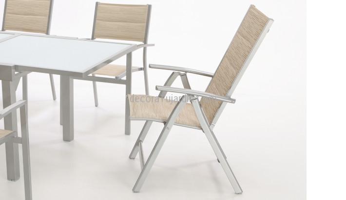 Sill n jard n reclinable aluminio gris tela beige for Sillas jardin aluminio