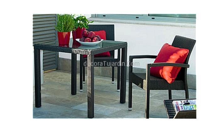 Mesa de terraza 80 x 80 ratt n sint tico - Mesa para terraza ...