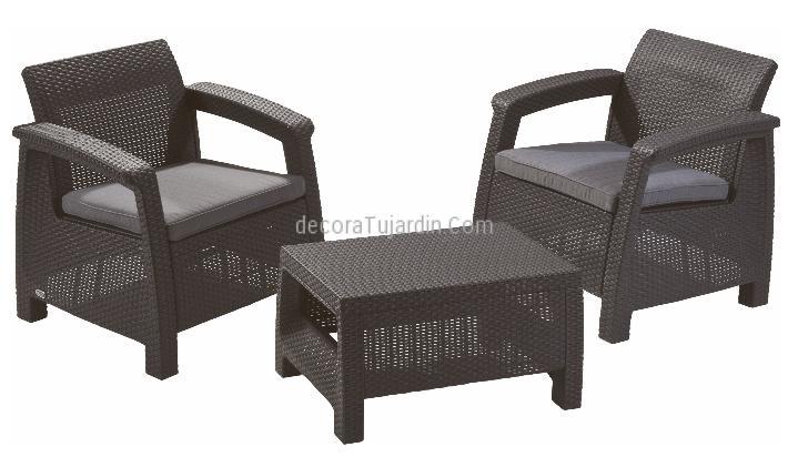 Conjunto 2 sillones y mesa resina exterior antracita for Conjunto sillones exterior