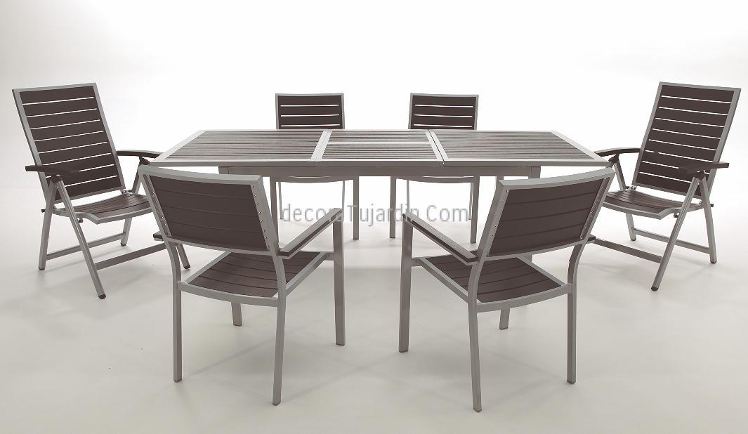 Mesa jard n extensible aluminio con lamas resina sint tica for Mesas de terraza y jardin