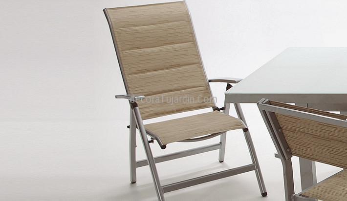 Sill n de jard n reclinable respaldo alto aluminio y textilene - Sillas de aluminio para jardin ...