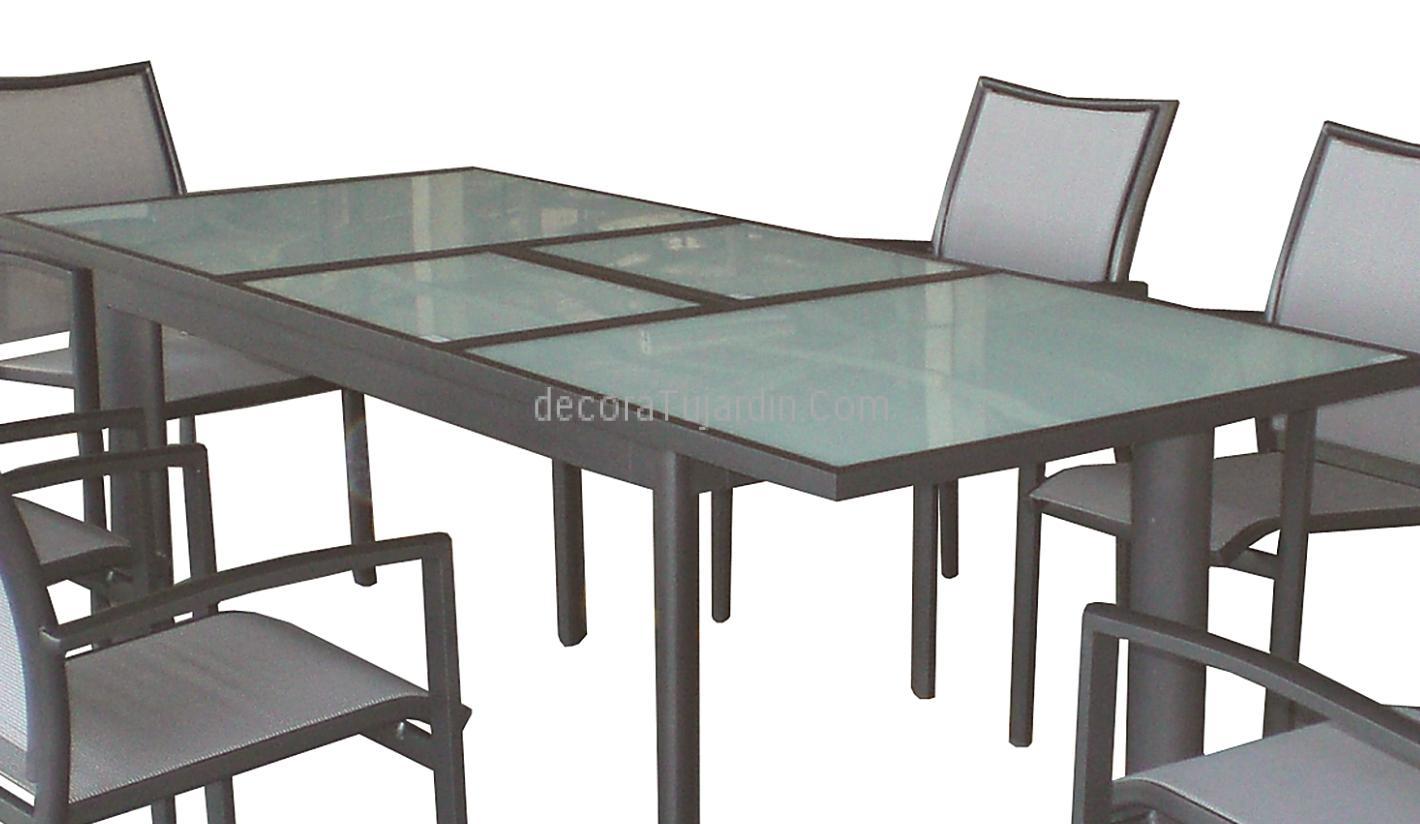 Muebles mesa ampliable de 155 a 213 x 90 antracita y cristal - Fundas mesa jardin ...