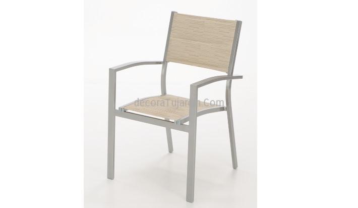 Modelo de Mueble de exterior aluminio y textilene acolchado beige ...
