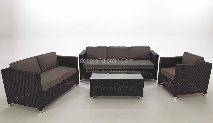 Muebles de jardín de salón - Sofás de exterior negro / gris