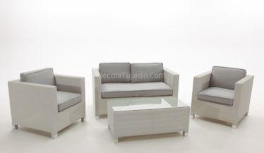 sofás jardín rattán blanco